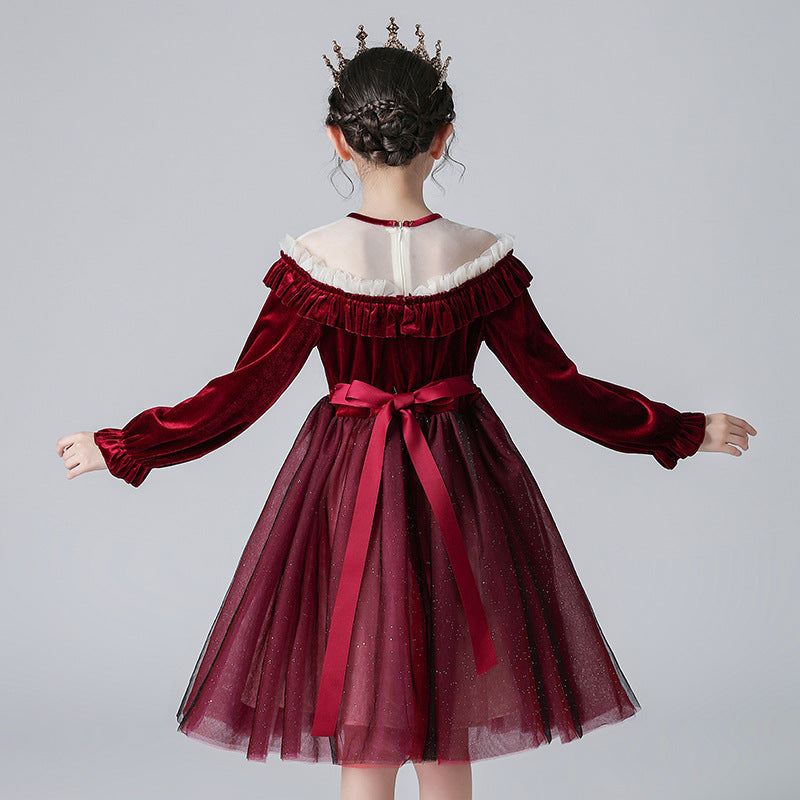 Flower Girl Dresses Red Fancy Tulle  Long Sleeved Pageant Dress Christmas Party for Kids 2-12 Year Old
