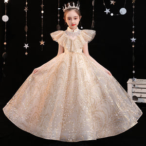 Champagne Flower girl Dress for Kids Birthday Party  Pageant Gown Fancy Satin Lace Pageant Ball Gown