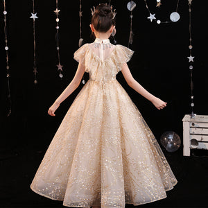Champagne Flower girl Dress for Kids Birthday Party  Pageant Beading  Fancy Satin Lace Pageant Full LengthBall Gown