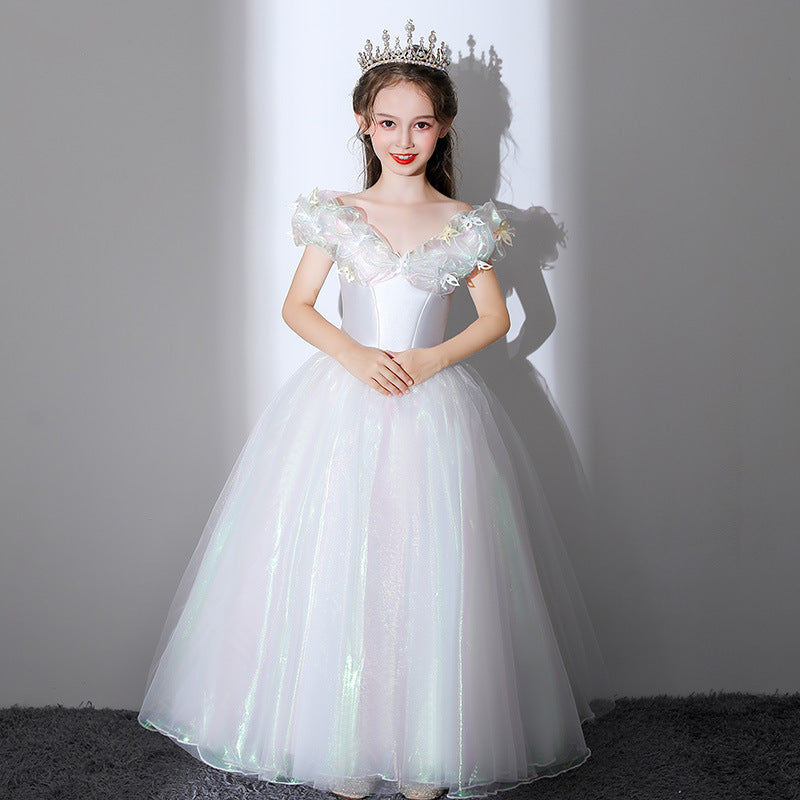 Elegant Flower Junior Girls Dress Formal Pageant Party Princess Gown Two colors Sequins Long Evening Party For 2-12 Y
