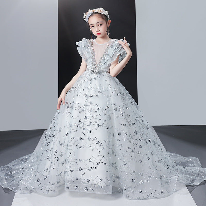 Flower Silver Girl Junior Dresses Satin Sequin Girls Formal Princess Gown Party Dress For Girls