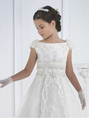 Flower Girl Long Princess Magic Appliques White Satin Dresses Pageant Floor Length Tulle Ball Gown