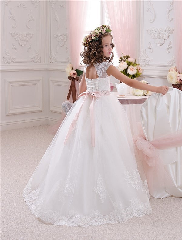 Girls Flower Lace Princess Communion Tulle Dress Long Pageant Gown Floor Length Prom Evening Formal Party for Kids