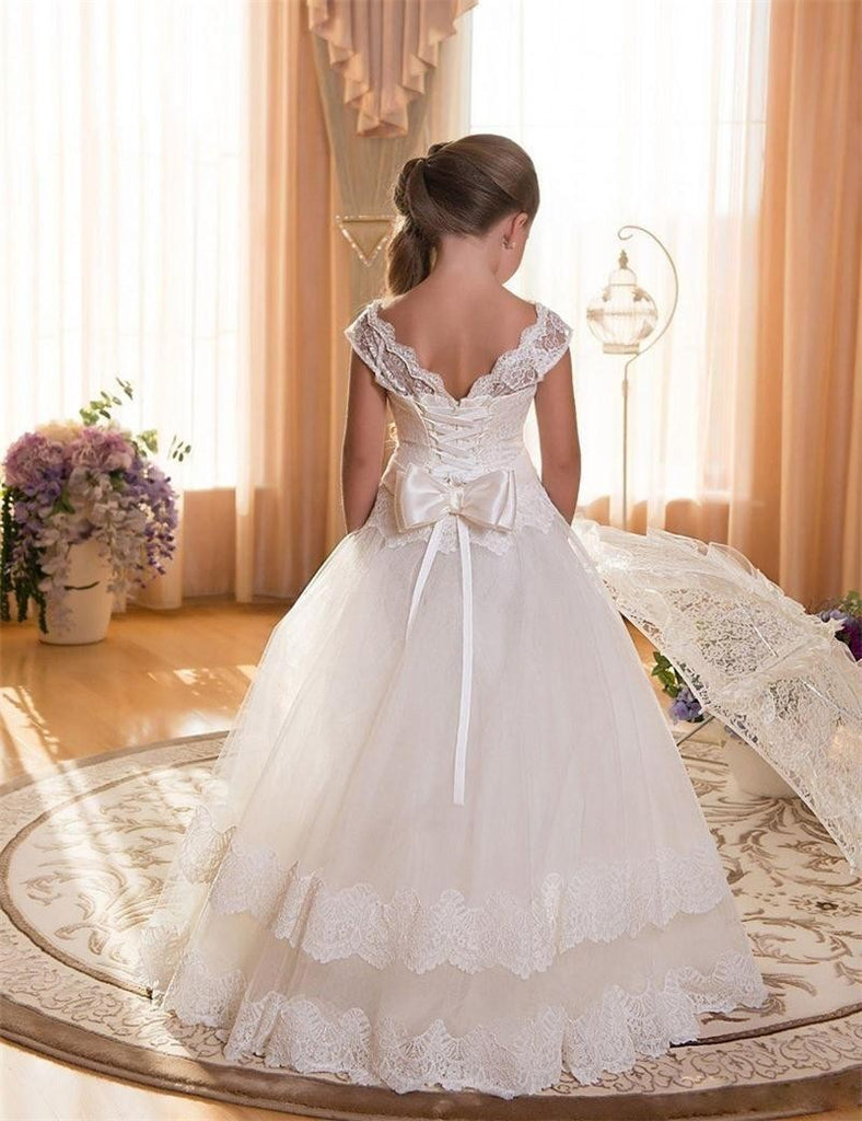 Flower Girl Dresses Lace Princess Communion Tulle Dress Evening Formal Party Tulle Party Gown For 2-12 Year old