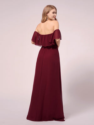 A-Line Floor Length Off Shoulder Sheath/Column Chiffon Bridesmaid Waistband Evening  Maternity Dresses