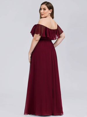 A-Line Floor Length Off Shoulder Sheath/Column Chiffon Bridesmaid Waistband Evening  Plus Size Dresses
