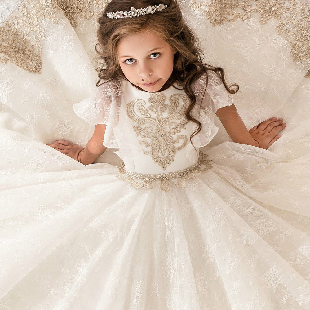 Flower Girl Kid Dresses Lace Dress Long Princess Pageant Dress Kids Prom Ball Gowns Pageant Dresses Tulle Party Gown Age For 2-12 Year old