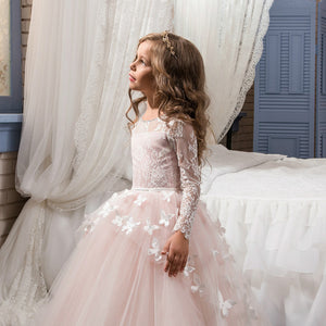 Flower Girl Dresses Fancy Ivory  White Pink Lace Long Sleeves Evening Formal Party Multi-Large Skirt  Scoop Neck  Ball Gown