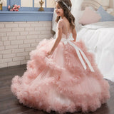 Long Puffy Flowers Girl Dresses Luxury V-Back Short-Sleeved Pageant Tulle Ball Gowns for Girls 2-12 Year Old