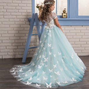 Flower Girl Dresses Butterfly  Fancy Tulle Lace Short Sleeved Pageant Dress princess dress Ball Gown Formal Party For 2-12 Year Old