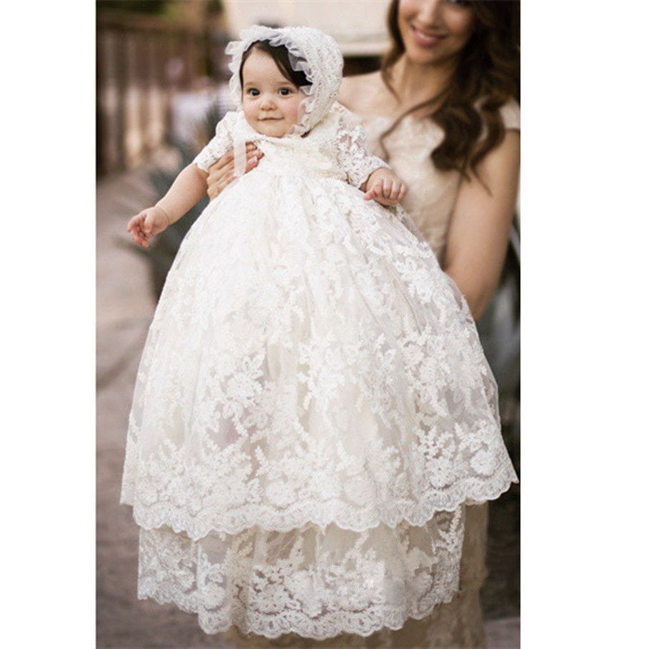 Baby Long Ivory Christening Gown Lace Baptism Dress with Bonnet baby flower girl dresses little girl dresses Baptism Gowns