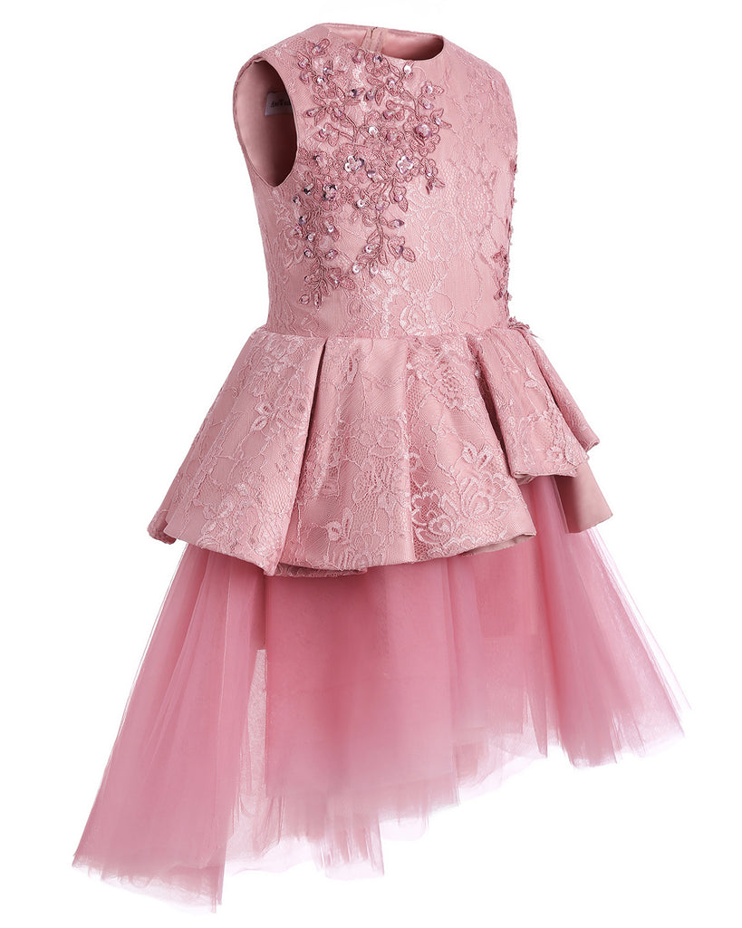 Little Big Girl Flower Tulle Dress Princess Rosy pink Pageant Birthday Party Formal Floor Long Dance Evening Maxi Gown
