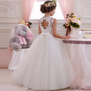 Dress Flower Girl Pageant Birthday Dresses Ball Gown Lace up Pageant Sleeveless Elastic Dress Neck with Bow