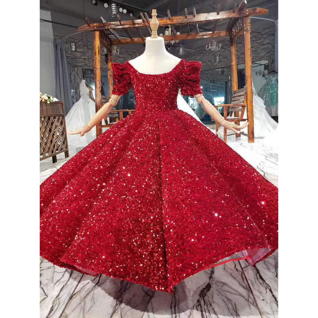 Flower Girl Dress Red  Pageant Party Wedding Tutu Gown Kids First Communion Dress Princess Ball Gown for 2-10 Years