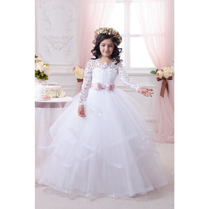 Flower Girl Lace Long Princess Dresses Kids Formal Party Pageant Ball Gowns First Communion Puffy Tulle Dress For 2-12 Year Old