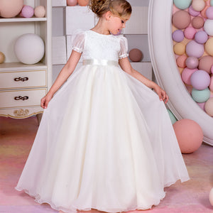 Flower Girl Dress  Fashion  Christening Dresses Princess Communion Formal Event  Floor Length Prom Evening Party For 2-12 Year Old