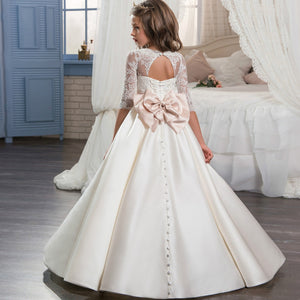 Flower Girl Lace Long Princess Dresses 3/4 Sleeves Floor Length Formal Party Pageant Ball Gowns Puffy Tulle Party Dress