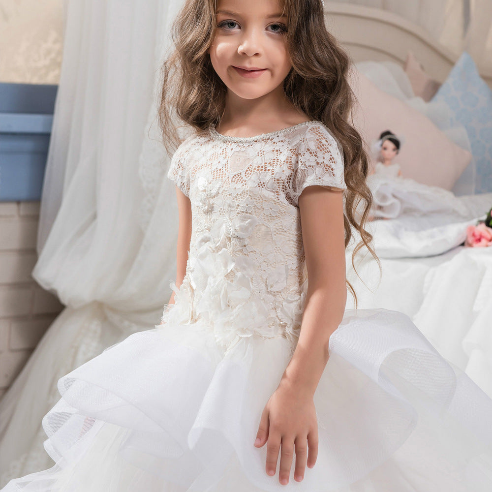 Flower Girl Lace Dress Open Back Short Sleeves Kids Trailing Gowns  For 2-12 Year Old