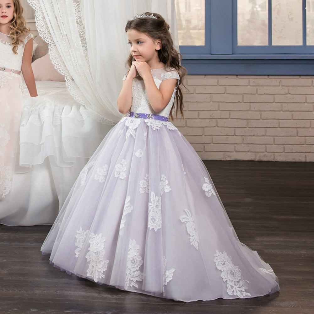 Flower Girl Dress Lovely Lace  Kids First Communion Dress Princess  Pageant Ball Gown Formal Event For 2-12 Year Old