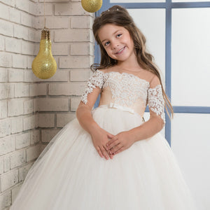 Flower Girl Dress  Christening Pageant Dresses Ball Gown Tutu Dresses Fancy Ivory White lace Gowns For 2-12 Year Old