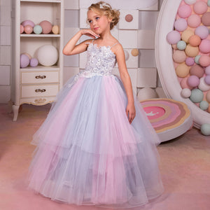 Flower Girl Kid Dresses  Princess Long Pageant Formal Princess Pageant Floor Length Tulle Ball Gown