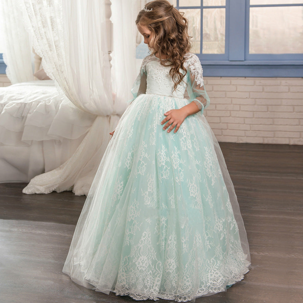 Flower Girl Dress Lace Princess Communion Tulle Dress Long Pageant Gown Floor Length Formal Party for 2-10 Years