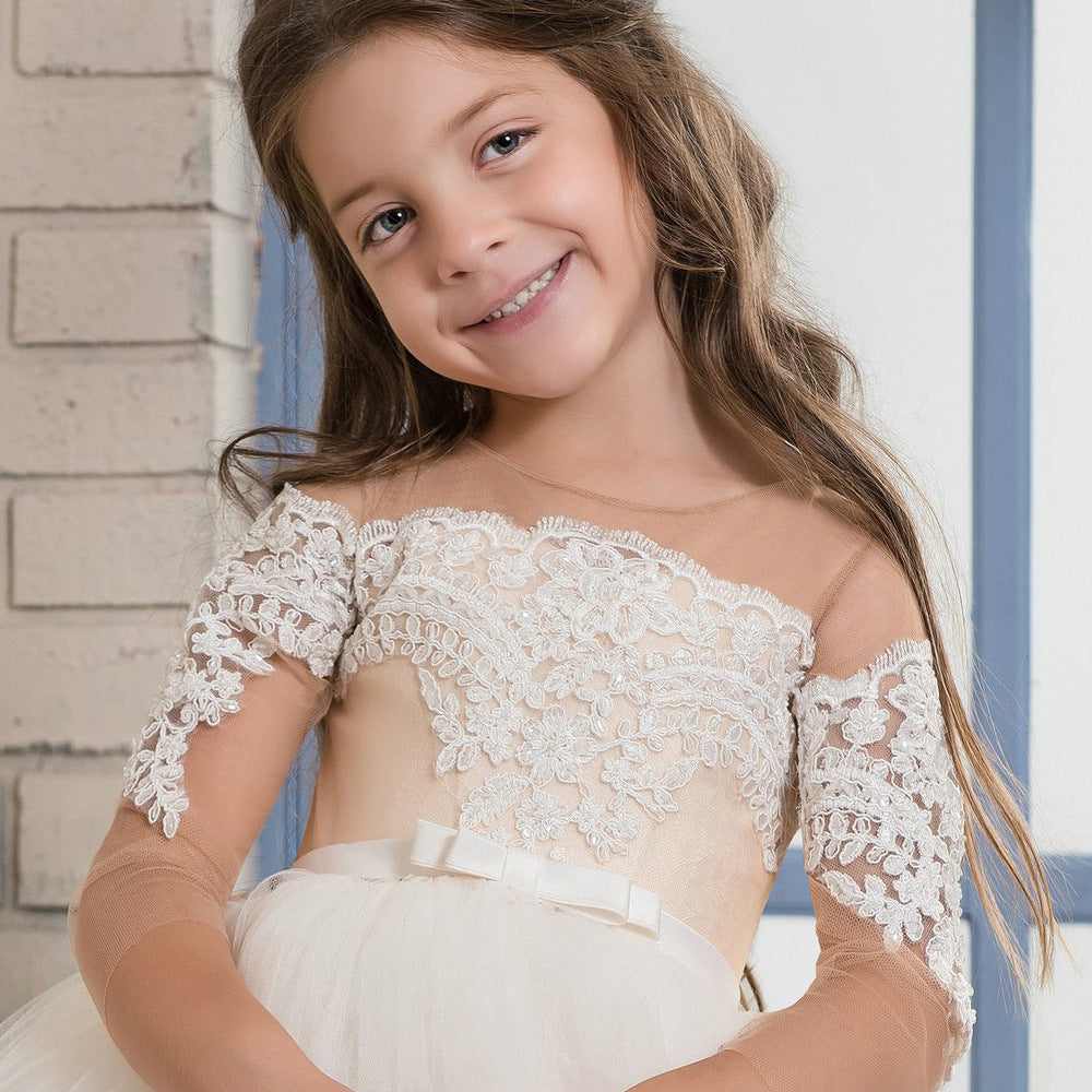 Flower Girl Dress  Christening Pageant Dresses Ball Gown Tutu Dresses Fancy Ivory White lace   First Communion Gowns