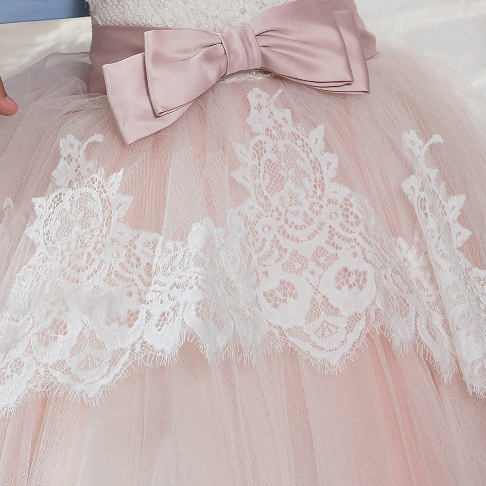 Little Girl Flower girl dresses Sleeveless Lace Princess Communion Tulle Dress Long Pageant Gown Floor Length Prom Formal Party For 2-12 Year Old
