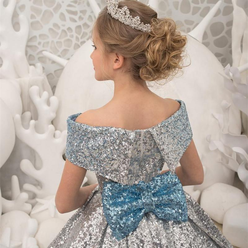 Flower Girl Dress Princess Blue Tulle Back with Ties Shining Ball Gown Formal Party for 2-10 Years