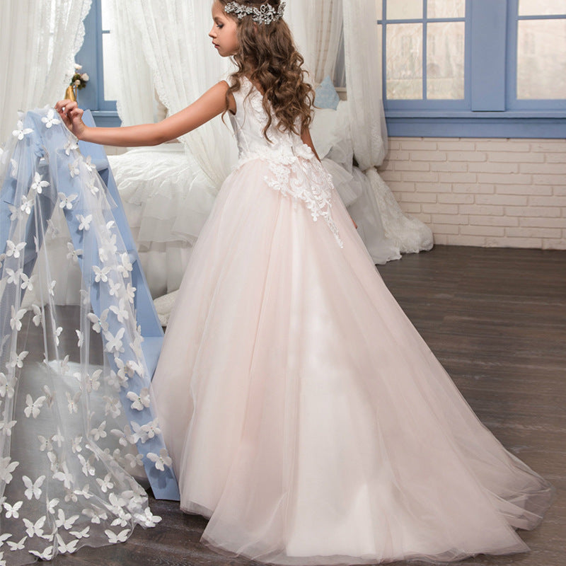 Flower girl dresses Princess Lace Pageant Dress Long Sleeves  Prom Floor Length Puffy Tulle Evening Dance Gown