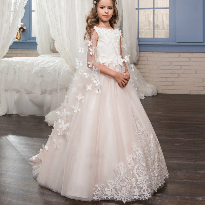 Flower girl dresses Princess Lace Pageant Dress Long Sleeves Communion Prom Floor Length Puffy Tulle Evening Dance Gown  For 2-12 Year Old