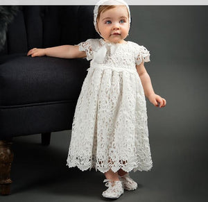 Baby Girls Floral Lace Cap Sleeve Christening Gown Baptism Embroidered Dress with Bonnet for Birthday Party Special Occasion