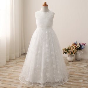 Flower girl dresses Miama Cap Sleeves Beaded Lace Tulle  Flower Girl Dress Junior  Dress Evening Gown For 2-12 Year Old