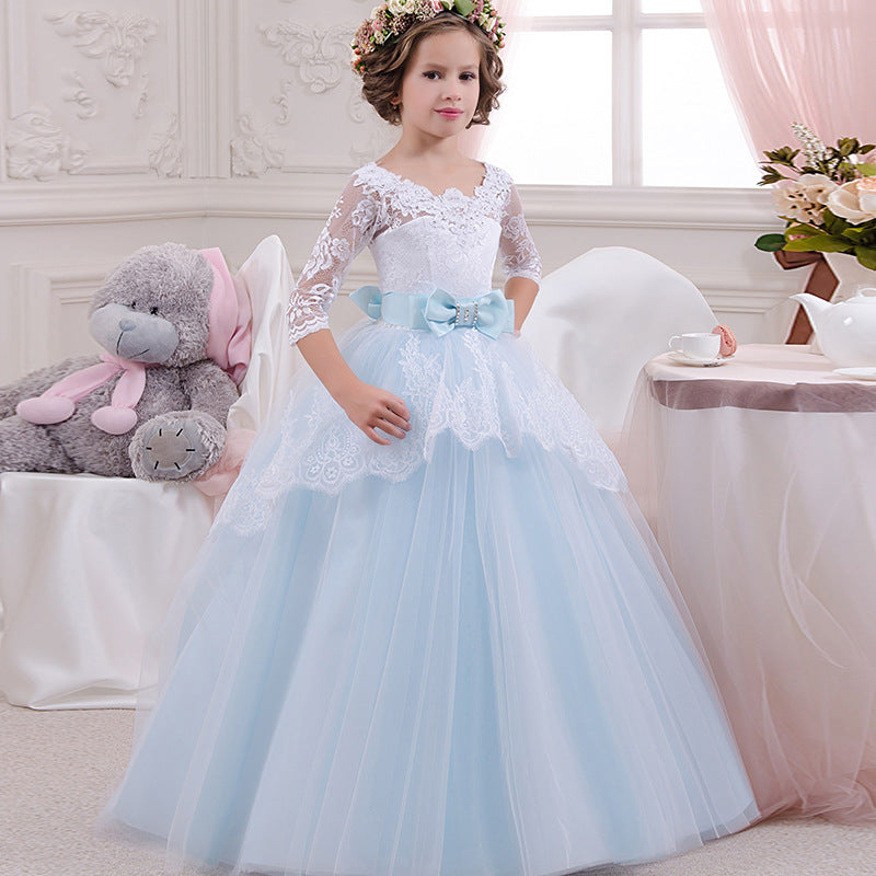 Little Flower Girl Dress Pageant Lace Long Sleeves Prom Gown Kids First Communion lace top Tulle Princess Girl Birthday Dresses