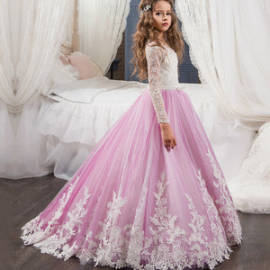 Flower Girl  Dresses Princess Long Sleeves Pageant Formal Party Appliques Chiffon Floor Length Evening Gown