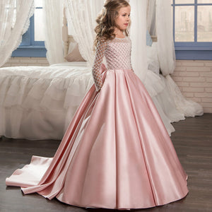 Flower girl dresses Christmas Flower Girl Dress Floor Length Button Draped Tulle Ball Gowns for First Communion Pageant Birthday Party