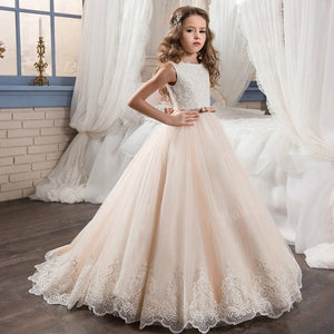 Flower Girl Dresses KissAngel Ivory Long Lace Girls Embroidered Prom Gowns Classic Birthday Party Long Dresses  for Kids