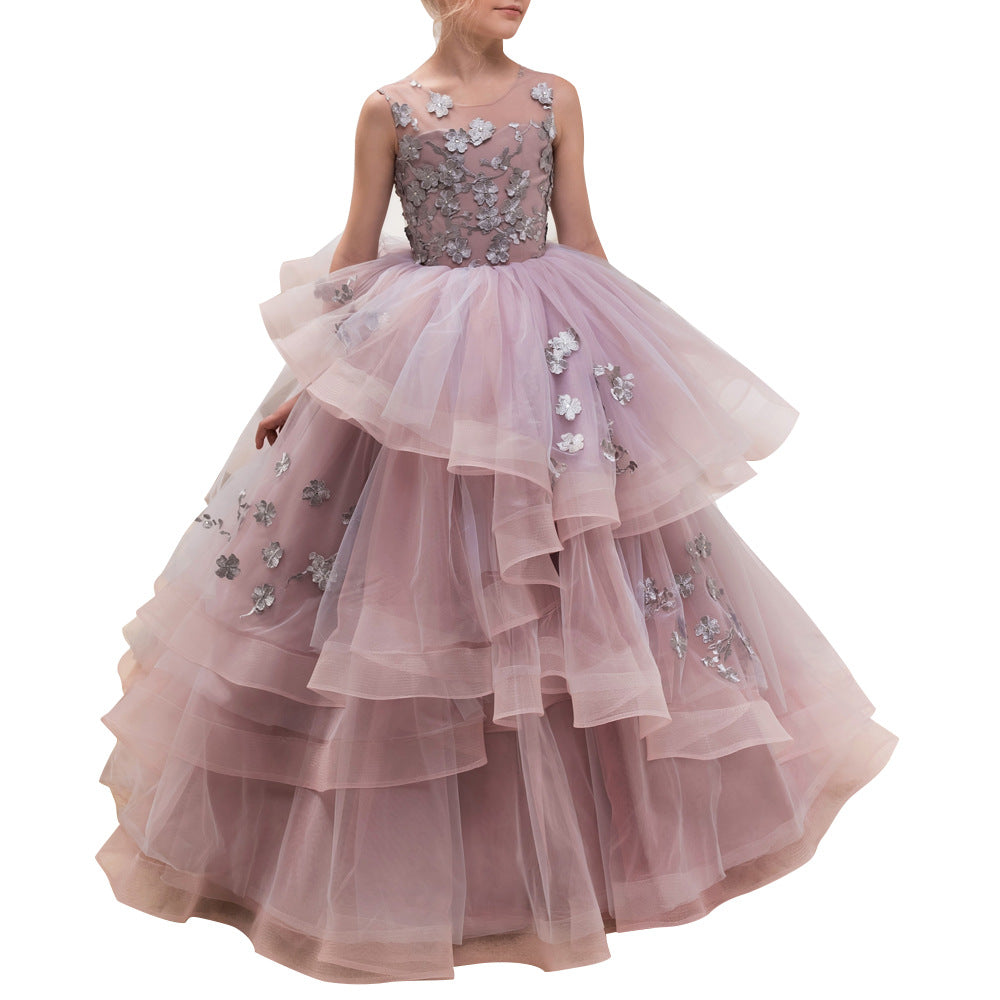 Flower girl dresses Flower Kid  Ball Gown Embroidered Prom Gowns Classic Birthday Party Long Dresses For 2-12 Year Old