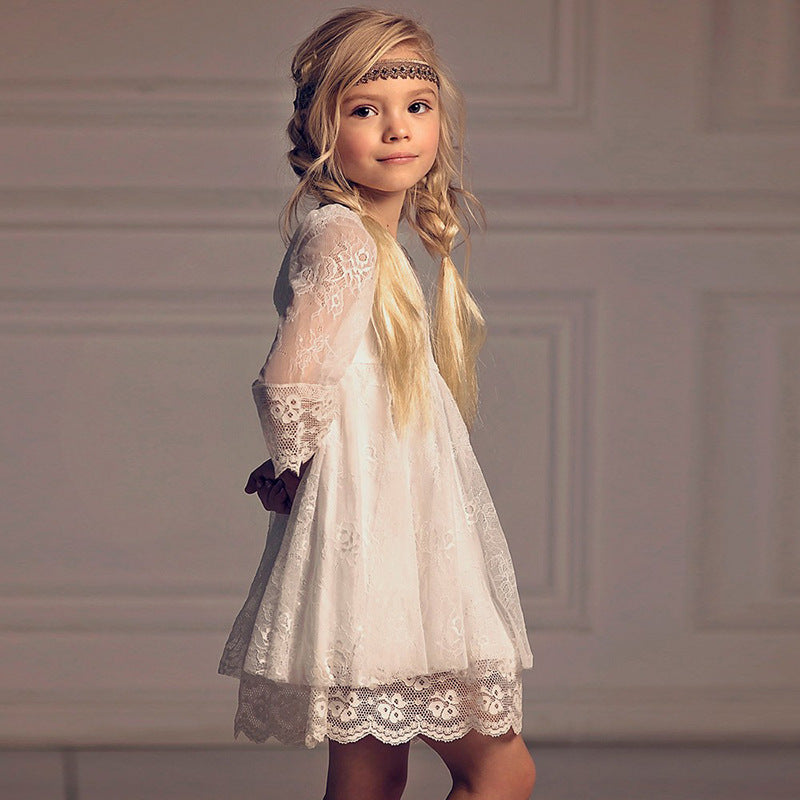 Flower Girl Dress Fancy Ivory Lace Kids Vintage Short Dresses Casual Country Dress  for Kids 2-12 Years