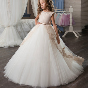 Flower Girl Dresses Kiss Angel Ivory Long Lace Flower Girl Dresses Champagne Less Party Gown For 2-12 Year old