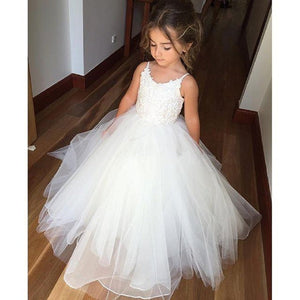 Flower Girl Dress Flower Girl Ball Gown Lace Up Magic White Communion Dresses lace  Baptism  For 2-12 Year Old