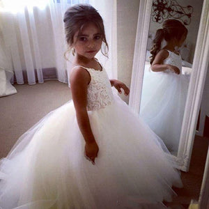 Flower Girl Dress Flower Girl Ball Gown Lace Up Magic White First Flower Communion Dresses lace top Baptism  For 2-12 Year Old