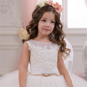 Flower girl dresses KissAngel Ivory Long Lace Flower Girl Dresses Champagne Less Party Sleeveless Communion Dresses For 2-12 Year Old