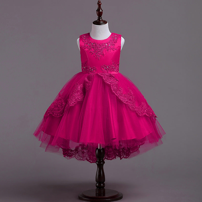 Lovely Lace Flower Girls Dresses Kids Princess Pageant 6 Colors Available for 2-12 Year Old Kids