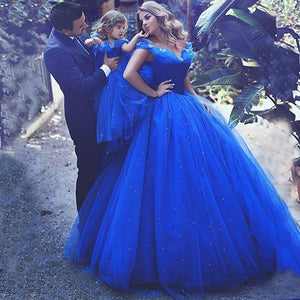 Flower Girls Lace Dresses Appliques little girl Dress Long Sleeveless  Blue Birthday Princess Ball Gown with Train Gown For 2-12 Year Old