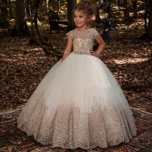 A Line Flower Girl Dresses Lace Princess  Dress Long Pageant Gown Floor Length Prom Evening Formal Party for Kids