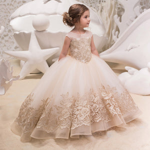 Girls Flower Dresses Lace Princess Tulle Dress Long Pageant Gown Floor Length Prom Evening Formal Party For 2-12 Year old