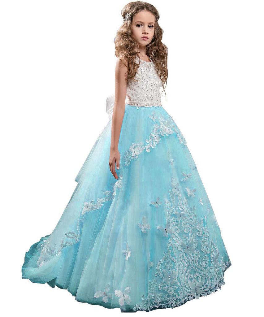 Girls Flower Dresses Lace Pageant Party Floor Length Formal Dance Evening Gowns  Dress  for Kids
