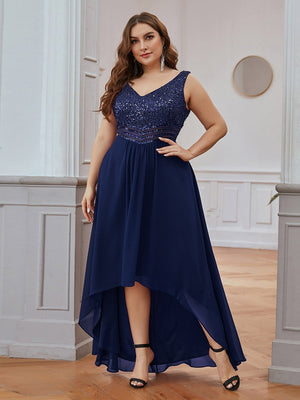Sexy V-Neck High-Low Maxi Chiffon A-line Sleeveless Plus Size Evening Dresses with Sequin