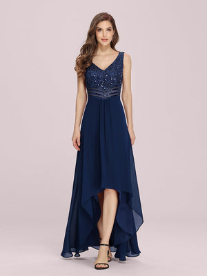 Sexy V-Neck High-Low Maxi Chiffon A-line Sleeveless Evening Dresses with Sequin